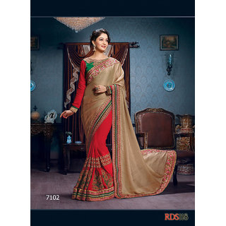 Rozdeal Red Brocade Embroidered Saree With Blouse