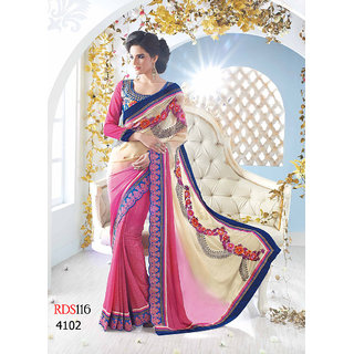 Rozdeal Latest Cream And Pink Colorful Designer Saree