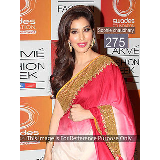 Sophi Chaudhary In Red And White Color Pedding Saree