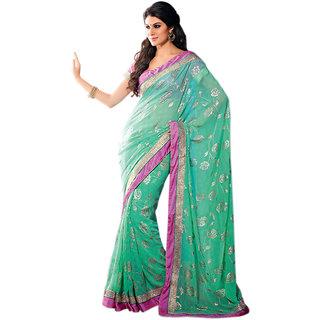 Surya Lifestyle  Blue  Colored Satin saree
