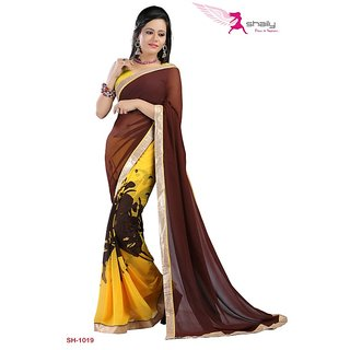 Shaily Georgette Printed Saree With Lace Border SH-1019