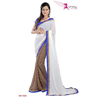 Shaily Georgette Printed Saree With Lace Border SH-1025