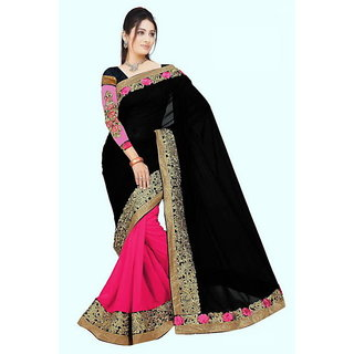 84ca288d57 Buy pink and black double color embroidery work Georgette saree ...