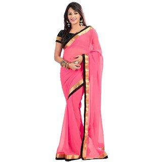 Triveni Saree Pink Raw Silk Plain Saree With Blouse