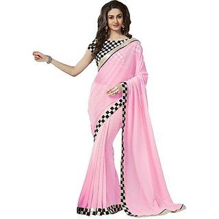 VR-1802h Nanda Silk Mills Latest Ethnic Fancy Pink Pure Georgette Sari