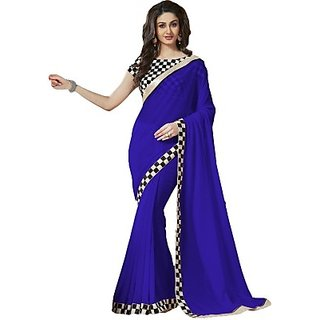 VR-1802f Nanda Silk Mill Blue Color Pure Georgette Saree Ethnic Party Wear Sari