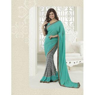 Thankar New Attractive Aqua And Grey Designer Saree