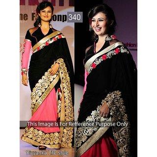 Divyanka Tripathi 60 Gm Georgette Thread Work Black & Pink Bollywood Style Saree - 340