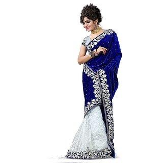 The Wonderfab Blue Velvet Saree