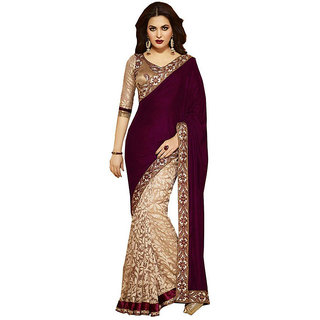 SRK Maroon Brasso Lace Saree With Blouse