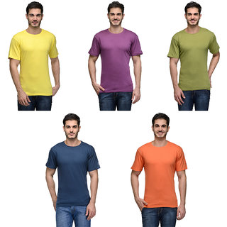 Urban Glory - Pack of 5 Mens 100 Cotton Solid T-Shirt - 4546474849-S