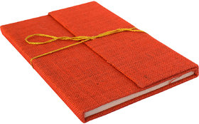 eShilp Handmade Diary Jute Fabric Cover Pasted Binding with Flap Size 25x18x1.3 Cm Orange