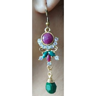 Kundan Earrings with Red and Green stones