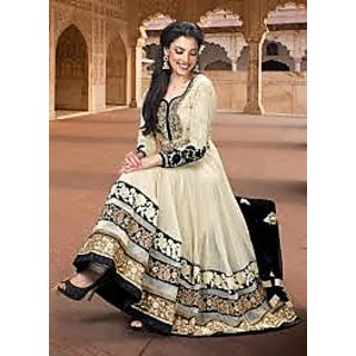 Creem & Black Color Anarkali Suit