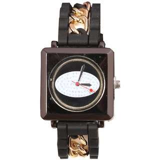 Women Black With Chine Belt Casual Analog Watches For Girls And Ladies