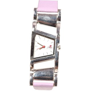 Women Sliver White Dial With Perpal belt Analog casual Girls And Ladies Watches