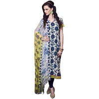 Exclusive Dress Material With Embroidery Work(Blue,Yellow)