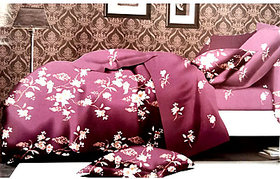 Tulaasi Multicolor Cotton Bed Sheet Floral Printed With Pilow Covers