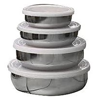 Set Of 4 Steel Containers With Lid