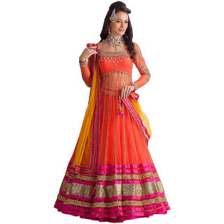 Orange Net Semi-Stitched Lehenga Choli