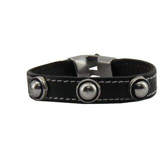 sushito Stylish Black Leather Wrist Band JSMFHWB0166