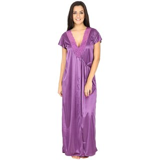 Womens Satin Mauve Long Night Dress With Robe Set (Mauve, Free Size)