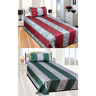 Fresh From Loom 2 Single Bed sheet with 2 Pillow covers