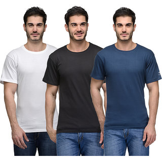 Urban Glory - Pack of 3 Mens 100 Cotton Solid T-Shirt - 404149-S