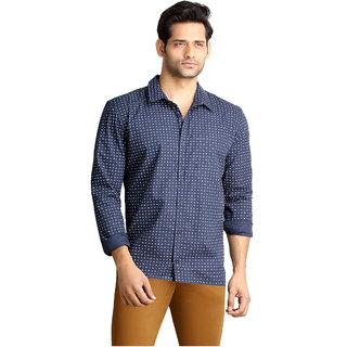 London Bee Mens Blue  Printed Long Sleeve Slim Fit Shirt