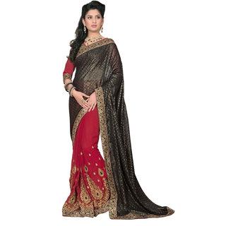 Khushali Presents Embroidered Georgette  Jacquard Half  Half Saree(Dark Pink,Black)