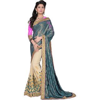Khushali Presents Embroidered Georgette  Jacquard Half  Half Saree(Cream,Peacock Blue)