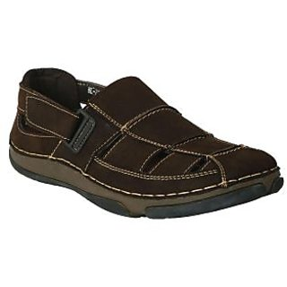 Action-Nobility MenS Brown Casual Velcro Sandals