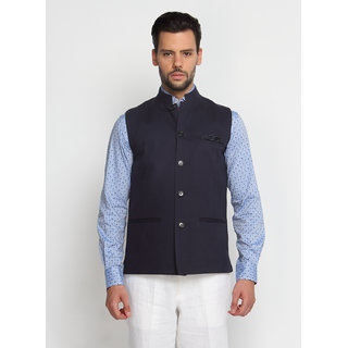 SUITLTD Navy Blue Solid Slim Fit Nehru Jacket