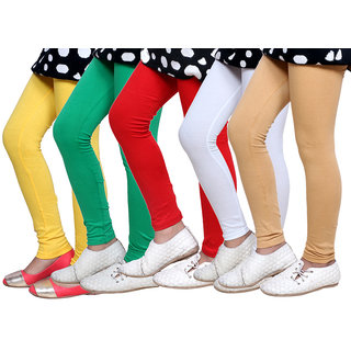 IndiWeaves Kids Super Soft Cotton Leggings (Set of -5)