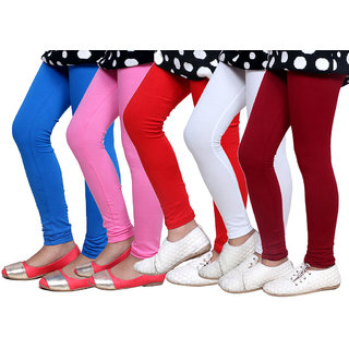 IndiWeaves Kids Super Soft Cotton Leggings (Set of -5)