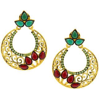The Jewelbox Filigree Chaand Bali Gold Plated Red Green American Diamond CZ Jhumki Earring for Women