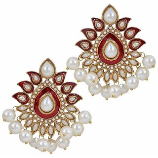 The Jewelbox Traditional Gold Plated Red Maroon Meenakari Pearl Festive Earring