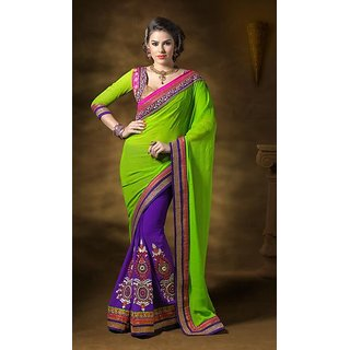 Lime Purple Georgette Saree