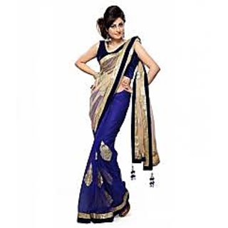 Graceful Blue Net Half  Half Designer Saree