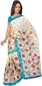SVB Multicolor Net Block Print Saree Without Blouse