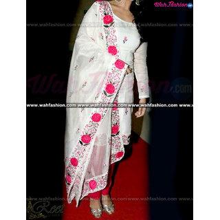 Buy Designer White Floral Embroidered Punjabi Suit Online 6499