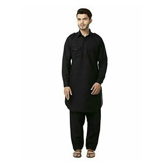 Buy ROYAL MEN COTTON BLAND LINEN SOLID PATHANI KURTA AND PAJAMA 5METER  Online - Get 72% Off c4f2388ce