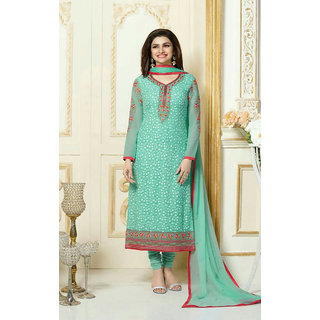 Fabliva Green Embroidered Georgette Straight Suit