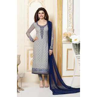 Fabliva Grey  Navy Blue Embroidered Georgette Straight Suit