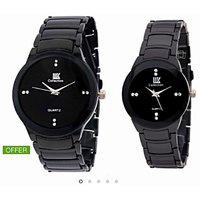 IIK Collection Of Black Luxury Analog Watch - For Men,Women Couple