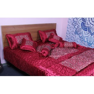 N decor Satin Quilt Cover Cousin Cover Bedding Set (Maroon)
