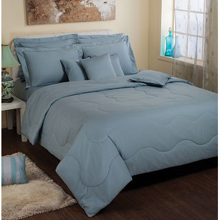 Portico Cotton King Size Bed Sheet Set Sky Blue