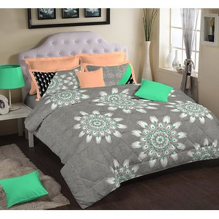 Portico Cotton King Size Bed Sheet with 2 Pillow Covers Multi Colour