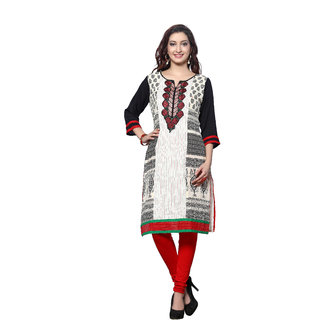 HIVA Womens trendy white block printed embroidered work 3/4th sleeve round neck kurti