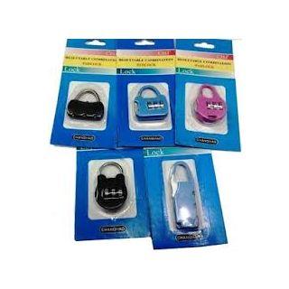 (Set of 2) 3 Digit Resettable code Password Number Lock Combination Bag Padlock